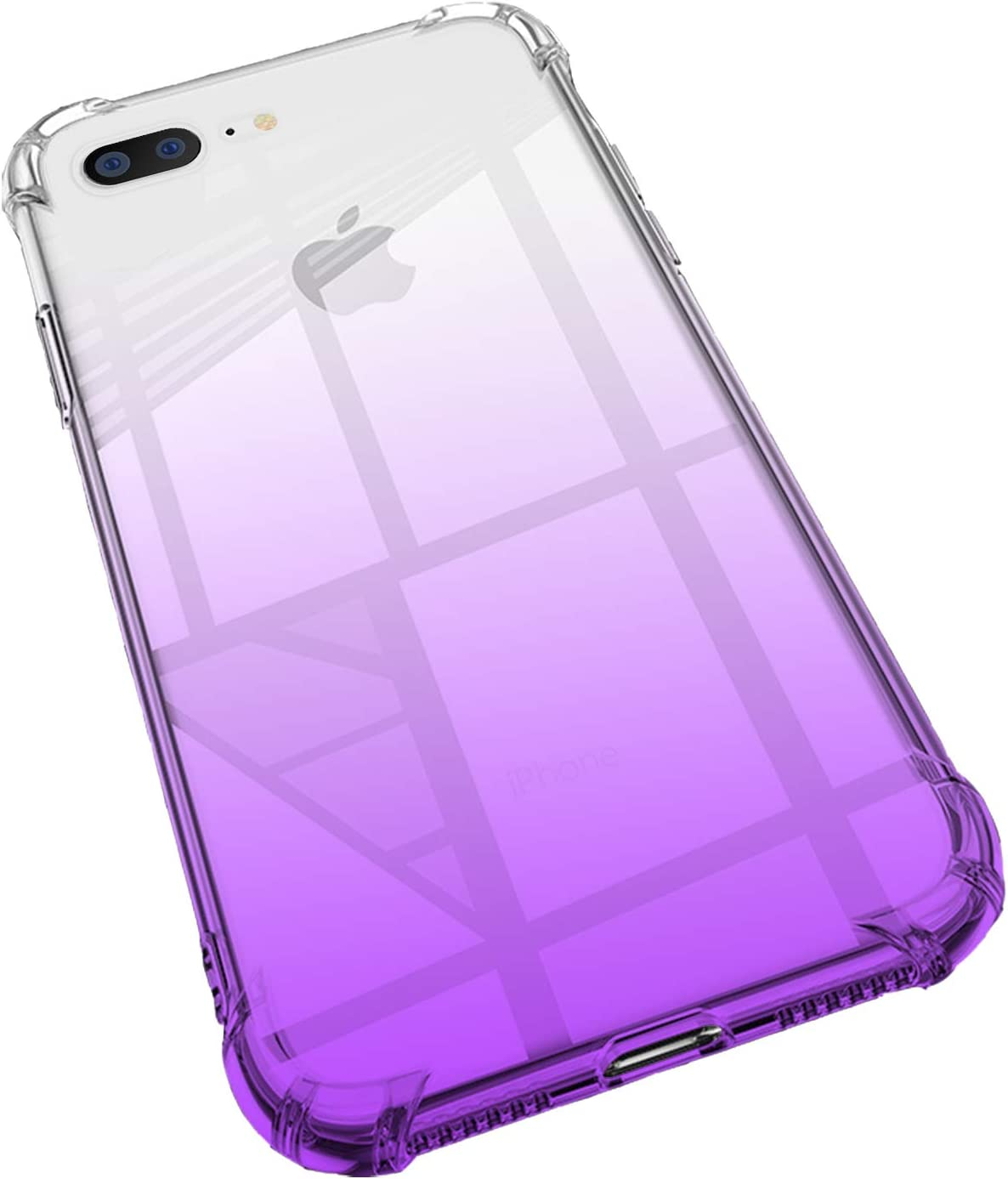 ANHONG iPhone 7 Plus / 8 Plus Clear Purple Case, Gradient Slim Fit Protective Heavy Duty Soft TPU Rubber Gel Silicone Shockproof Phone Cover Case Compatible with iPhone 7 Plus / 8 Plus (Purple)
