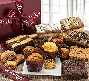 Dulcet Gift Basket Deluxe Gourmet Food Gift Basket: Prime Delivery for Holiday Men and Women: Includes Assorted Brownies, Crumb Cakes Rugelach, and Muffins. Great gift idea!