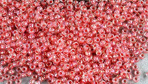 11/0 Round TOHO Japanese Glass Seed Beads #779-Rainbow Crystal/Salmon Lined 15g