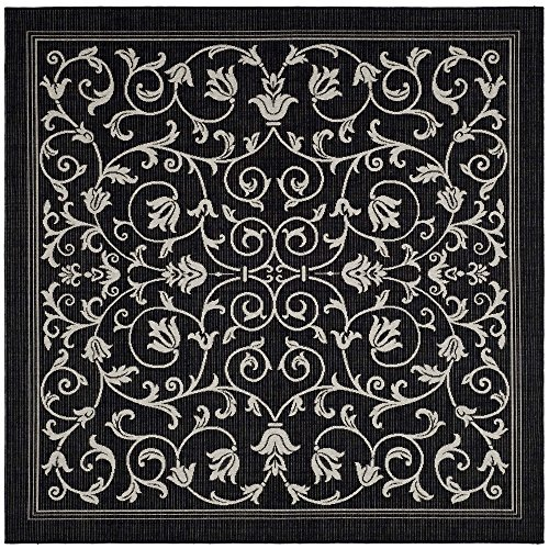 10 Square Black Rug (Safavieh Courtyard Collection CY2098-3908 Black and Sand Indoor/ Outdoor Square Area Rug (7'10