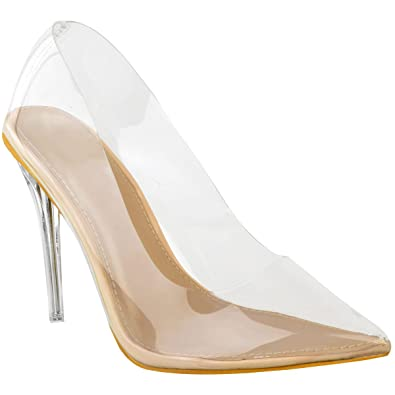 58a9f87fce9 Fashion Thirsty Heelberry® Womens Ladies Court Shoes Perspex High Heel  Stilettos Sandals Clear Party Size  Amazon.co.uk  Shoes   Bags