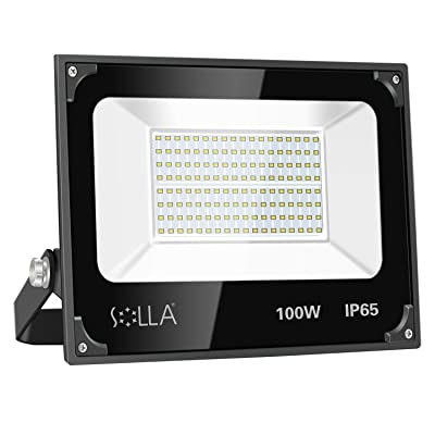SOLLA 100W Led Flood Light, 8000lm 6000K Daylight White Security Light Exterior Flood Lighting, Outdoor Indoor Lighting Fixture Landscape Floodlight Spotlight for Yard, Garden, Garage, Rooftop, Patio
