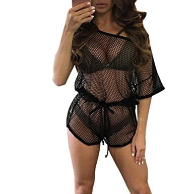 471c00466d5d6 TOOPOOT Womens Sexy Hollow Out Net Bikini Smock Swimwear Cover up Jumpsuits  (S, Black