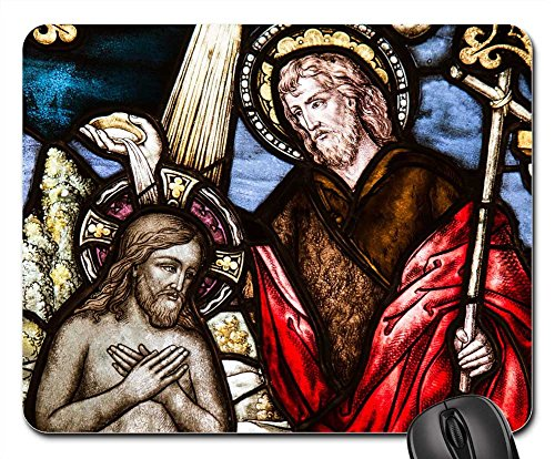 Mouse Pads - Church Window Baptism Sacrament Glass Window