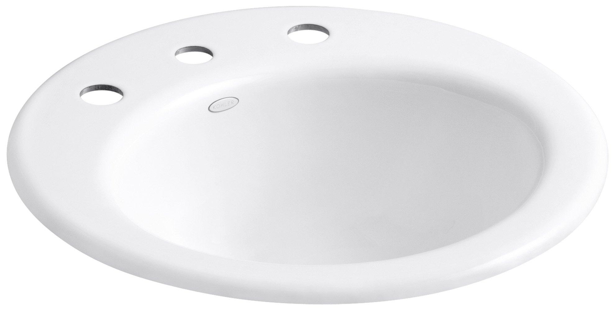 KOHLER K-2917-8-0 Radiant Self-Rimming Bathroom Sink, White