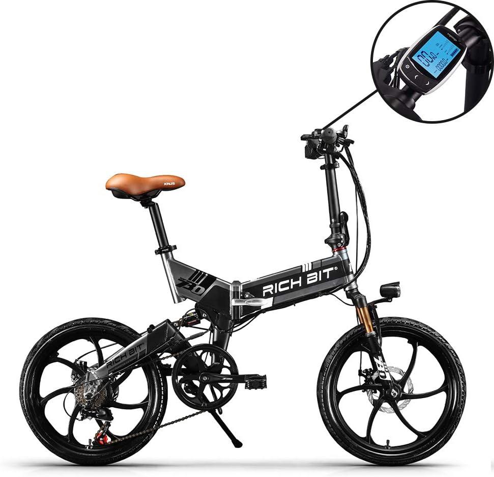 RICH BIT RT730 Bicicleta eléctrica Plegable de 20 Pulgadas, Bicicleta  eléctrica batería de Litio de 250 w * 8ah Marco de aleación de Aluminio MTB  amortiguadores de Choque completos 7 velocidades de: