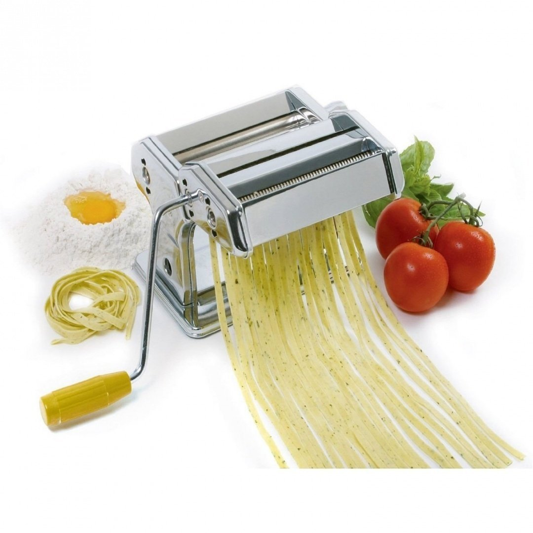 Babz 3 in 1 Heavy Duty Stainless Steel Professional Fresh Pasta Lasagne Spaghetti Tagliatelle Maker Machine Cutter with 3 Cut Press Blade Settings with Table Top Clamp Kitchen Set (Silver) Babz Media Ltd
