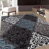 Rug Decor Modern Transitional Soft Damask Area Rug, 5′ 3″ by 7′ 3″, Grey