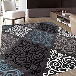 Rug Decor Modern Transitional Soft Damask Area Rug, 5\' 3\
