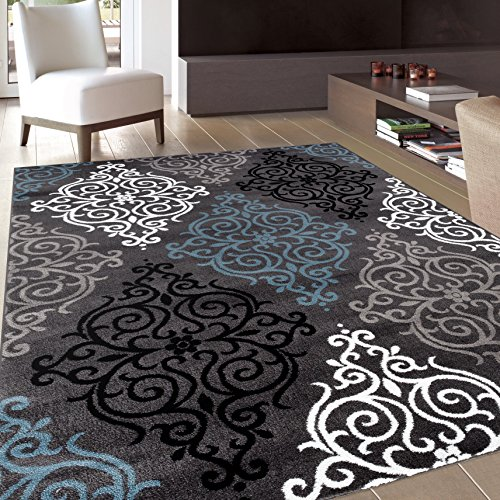 Modern Transitional Damask Soft Area Rug