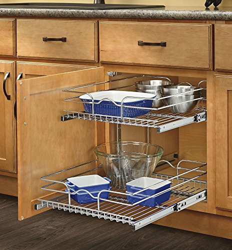 - Rev-A-Shelf - 5WB2-1522-CR - 15 in. W x 22 in. D Base Cabinet Pull-Out Chrome 2-Tier Wire Basket