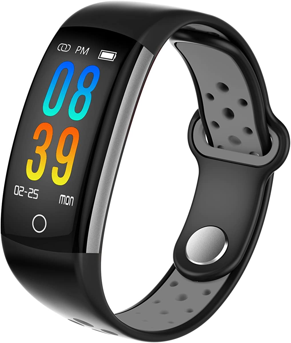 Fitness Tracker Watch Heart Rate Blood Pressure Monitor Bluetooth IP67 Waterproof Color Screen Activity Tracker Step Calorie Counter Pedometer