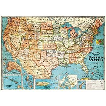 Amazoncom United States Map Retro Vintage USA Map Can Be Used - Usa map vintage