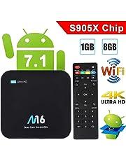 TV Box Android 7.1 - VIDEN Smart TV Box Amlogic S905X Quad Core, 1GB RAM & 8GB ROM, 4K*2K UHD H.265, HDMI, USB*2, 2.4GHz WiFi, Web TV Box, Android Set-Top Box [Versión Mejorada]