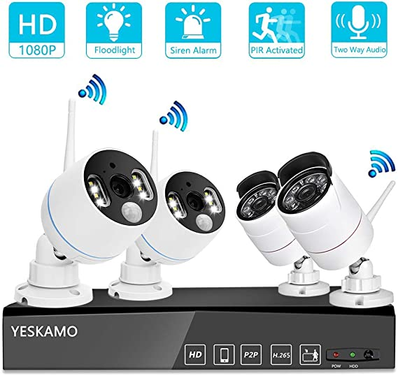 YESKAMO Wireless Security Camera System Outdoor 1080p [Floodlight & Audio] 2 x Floodlight Home Cameras 2 x Standard IP Camera 8 Channel NVR Support Two Way Talk