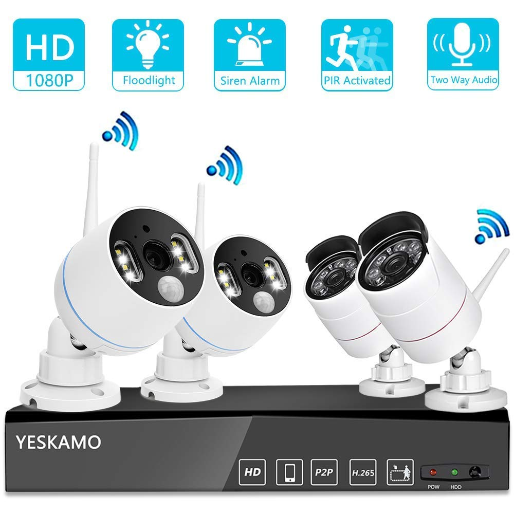 YESKAMO Wireless Security Camera System Outdoor 1080p Floodlight Audio 2 x Floodlight Home Cameras 2 x Standard IP Camera 8 Channel NVR Support Two Way Talk,Color Night Vision,PIR Motion Detection