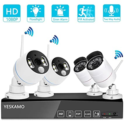 YESKAMO Wireless Security Camera System Outdoor 1080p [Floodlight \u0026 Audio] 2 x Floodlight Home Amazon.com :