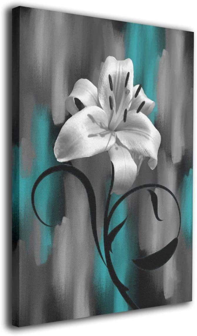 "Maxwellmore Teal Gray Lily Flower Modern Giclee Canvas Prints Artwork Contemporary Original Designed Pictures to Photo Paintings On Canvas Wall Art for Home Decorations Wall Decor 16""x20"""