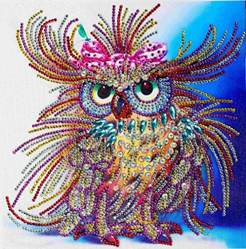 Diamond Painting DIY 5D Special Shape Rhinestones, ABEUTY Colorful Owl Art, Partial Drill Crystal Diamond Art Kits