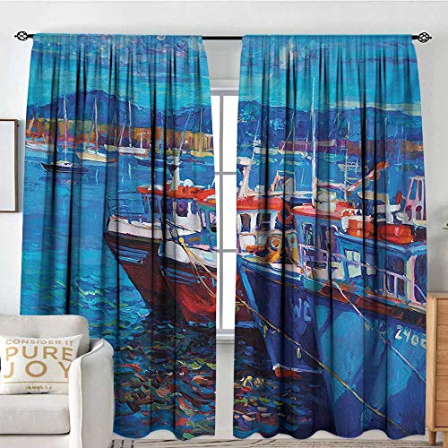 Ray Ellis Harbor - Petpany Rod Pocket Curtains Country,Sail Boats Ships on The Shore Harbor by The Sea Small Rural Fishing Town Artwork,Navy Red,Insulating Room Darkening Blackout Drapes for Bedroom 84