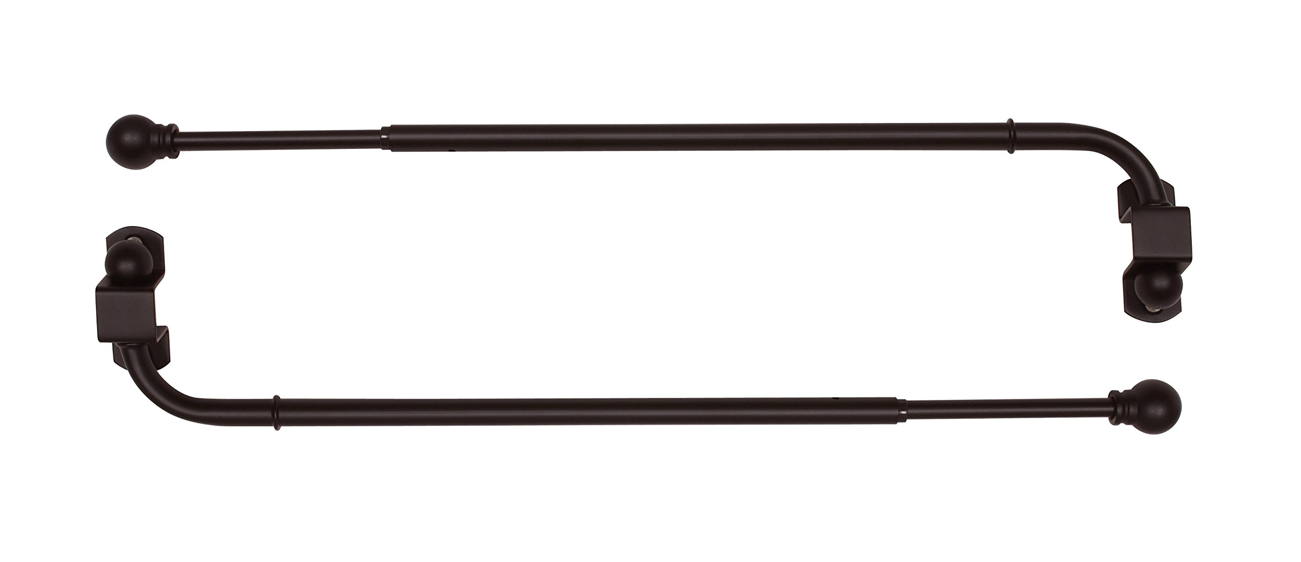 Versailles Home Fashions Pair of Swing Arm with Ball Finial, Espresso, 24 by 38-Inch