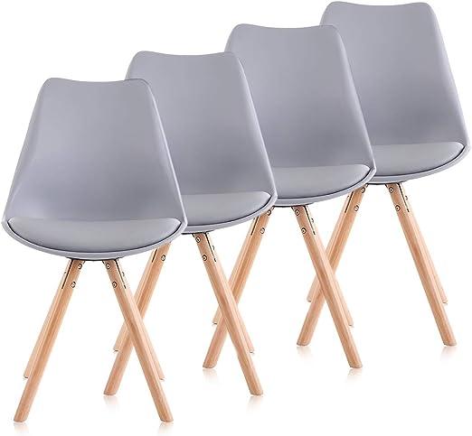 4er Set Stuhl Wohnzimmerstuhl Esszimmerstuhl Grau Stühle Holzbeine