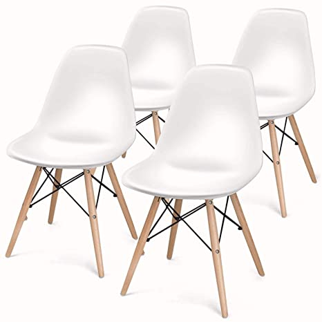 Super Butii Set Of 4 Retro Dining Chairs Mid Century Modern Durable Pu Cushion With Solid Wooden Legs Armless Chairs For For Kitchen Dining Bedroom Pabps2019 Chair Design Images Pabps2019Com