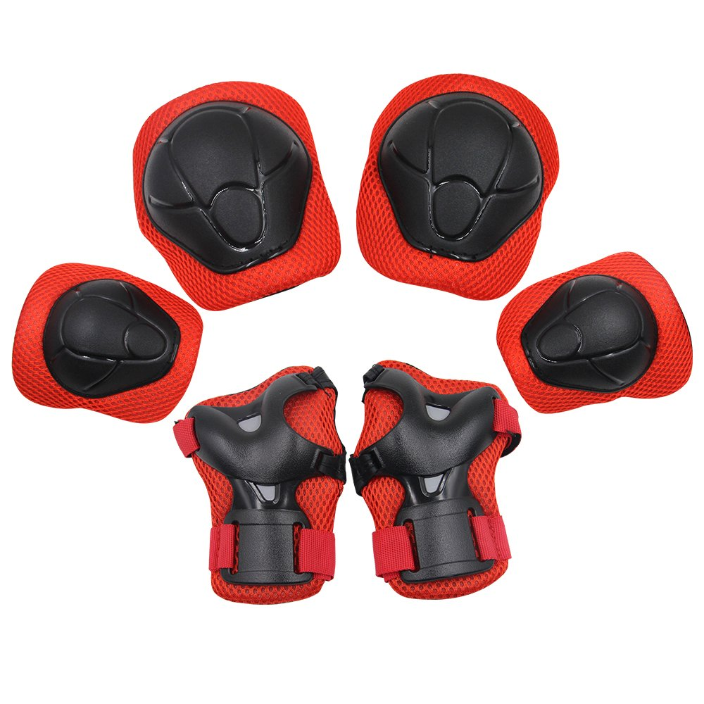 Sports Protective Gear Safety Pad Safeguard (Knee Elbow Wrist) Support Pad Set Equipment for Kids Youth Roller Bicycle BMX Bike Skateboard Hoverboard Protector Guards Pads(Red) by KUYOU (Image #1)