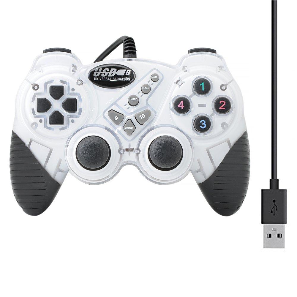 QUMOX Dual Vibration Gamepad Shock JoyPad Controller fü r PC Kabel USB Joystick Weiß