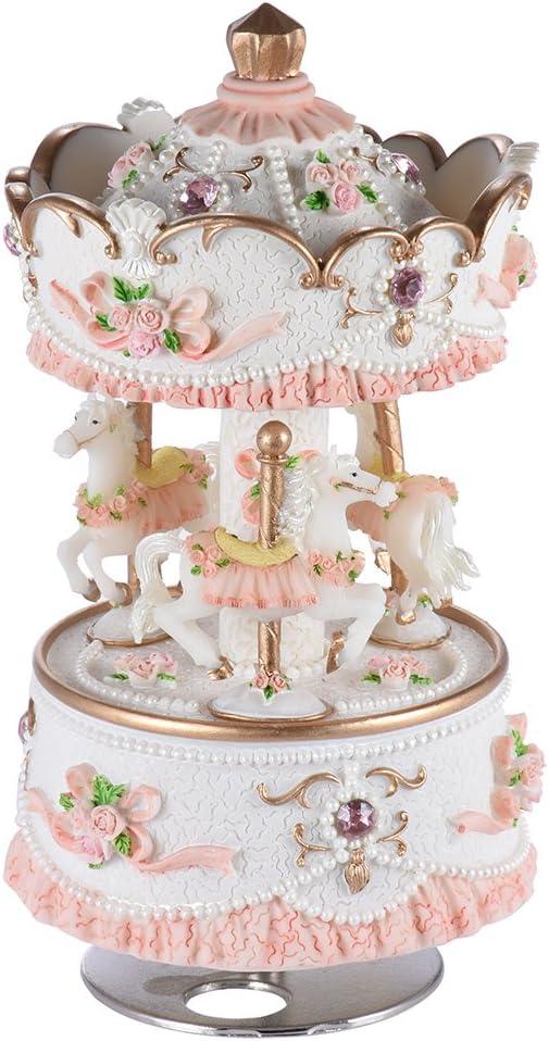 Caja de Música Fin de Semana de Lujo Carrusel de 3 Caballos Artware / Regalo Melodía Castillo en el Cielo Rosa / Púrpura / Azul / Sombra de Oro para la Opción