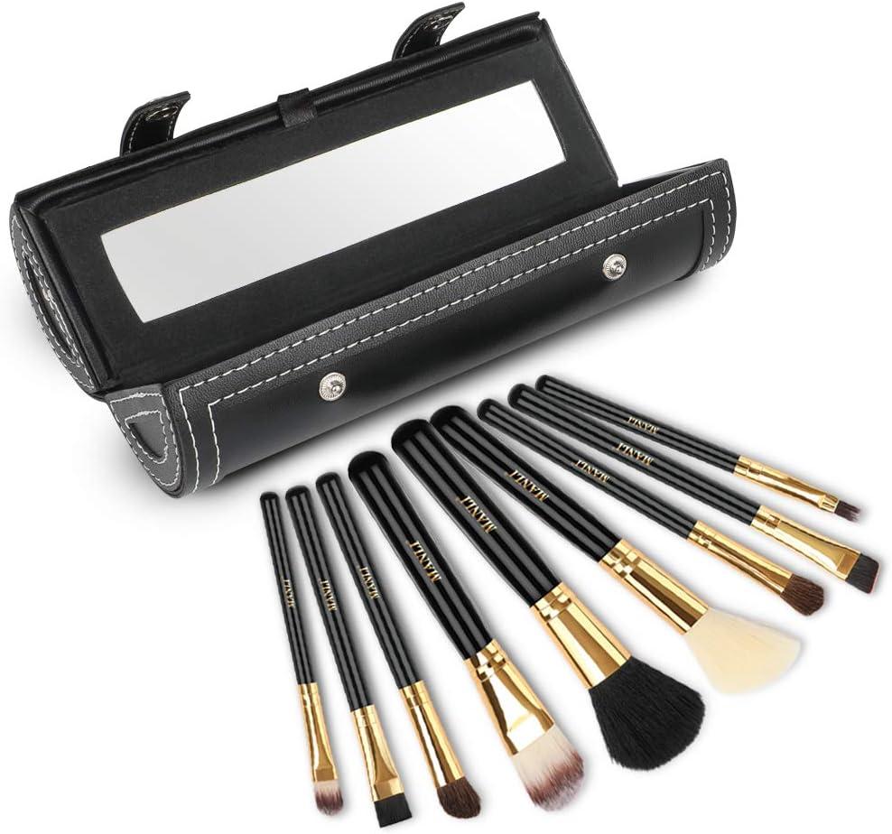 Set de Brochas de Maquillaje 9 Piezas, MANLI Pinceles Maquillaje con Estuche Rígido Espejo para Sombra de Ojos Fundación Corrector Polvos Labios Trucos Cara Portaescobillas de Viaje: Amazon.es: Belleza