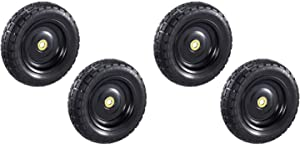 Gorilla Carts GCT13NF 13 Inch No Flat Replacement Pneumatic Tire Wheel with Offset Hub, Utility Garden Cart, Wheelbarrow, Dolly, Wagon, and Go Cart, 4 Pack