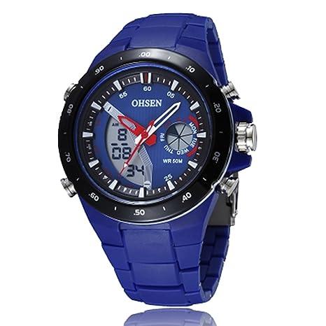 CursOnline® Elegante Reloj Hombre Mujer OHSEN AD2802 doble horario Chrono reloj despertador Water Resistant LED
