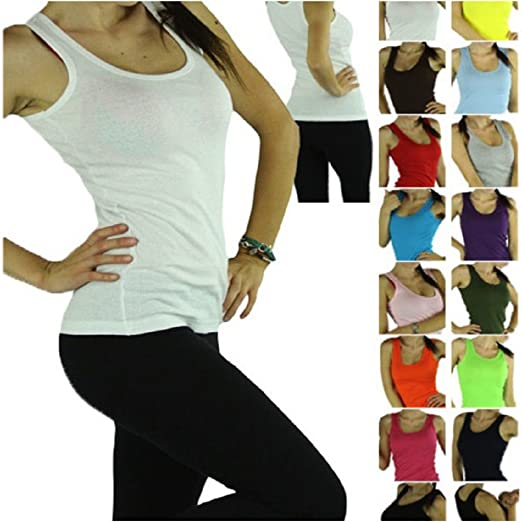 d81afa4e12c6fb 100% Cotton Tank Top for Women Ribbed Raceback Tanks Assorted Color Quality  Size   at Amazon Women s Clothing store