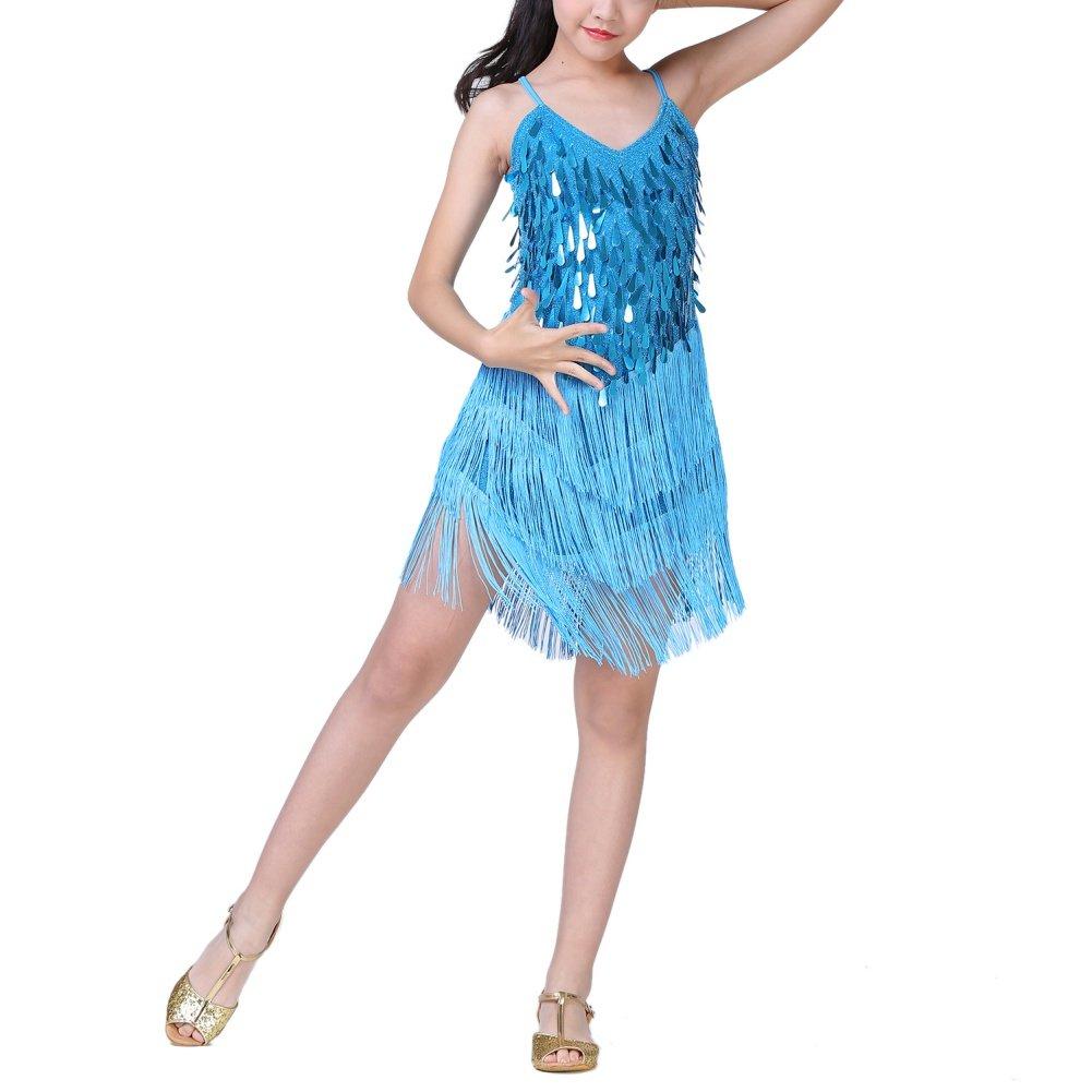 Brightup Ragazze Bambini Paillettes Nappa Danza Latino Abito Rumba Halloween Partito Vestito