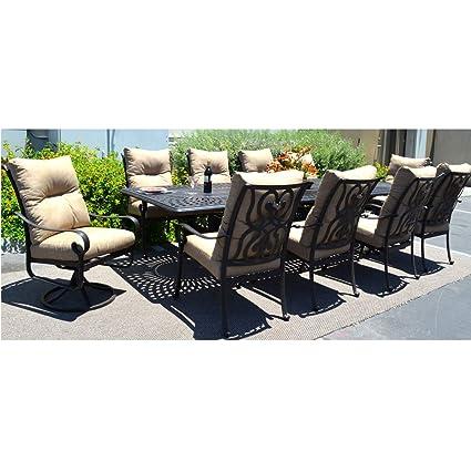 Amazon.com: 11 Pc Dining Set Cast Aluminum Patio Furniture Outdoor Santa  Anita Chairs Extension Dining Table: Garden U0026 Outdoor