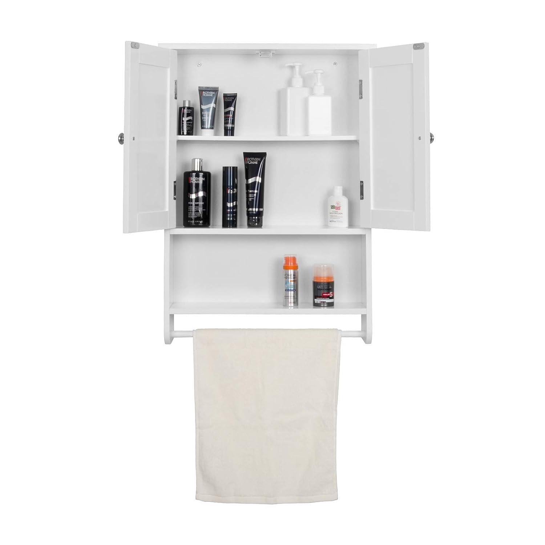 Woltu Armario de Pared Muebles de Baño Colgador para Almacenamiento con 2 Puertas 48,5x65x14,5cm, Blanco BZS04ws