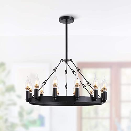 NOXARTE Industrial Chandelier Round Candle Pendant Light Rustic Black Metal Lighting Fixture