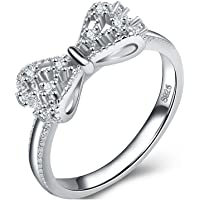 Uloveido 925 Sterling Silver CZ Zircon Ribbon Bow Knot Infinity Promise Ring Embers Rings for Women Wedding Anniversary Gifts Size J L O Q S T Y383