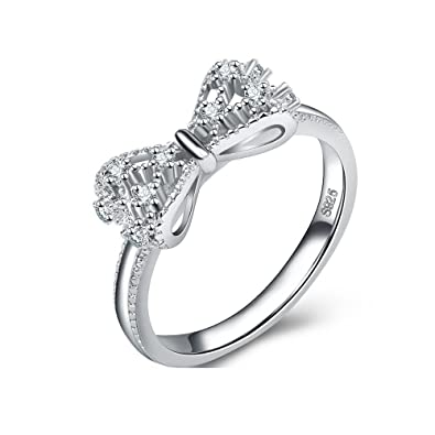 44cd62f38 Uloveido Infinity Bow Knot Sterling Silver Promise Engagement Wedding Ring  for Women with Cubic Zirconia Diamond Y383: Amazon.ca: Jewelry