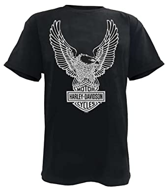 a0f79e18c24b6d Harley-Davidson Men's T-Shirt Eagle Graphic Short Sleeve Black Tee 30296656  (S