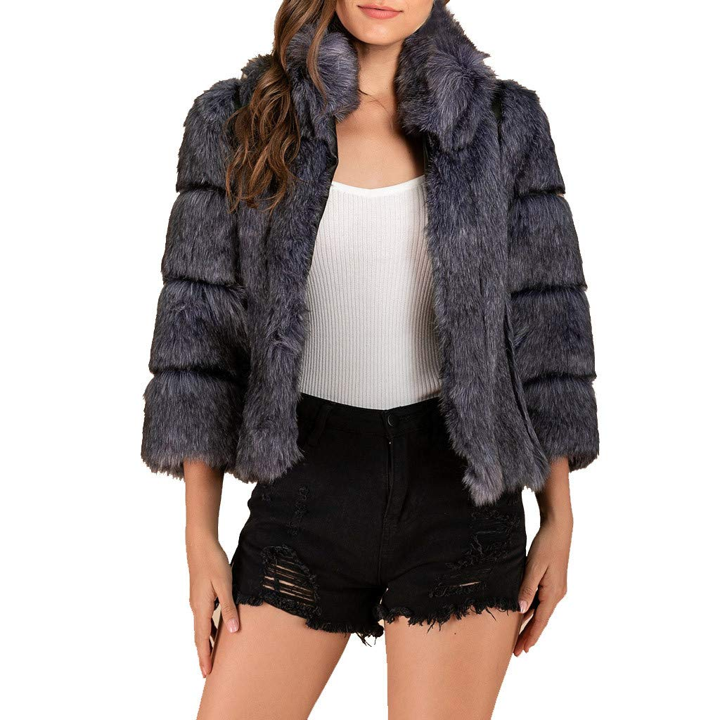 Coat Winter,Women Fashion Solid Faux Fur Outerwear Cardigan Loose Button Pocket Short Coat,Juniors, Fur Winter,Active & Performance Gray by Chenchen ltd