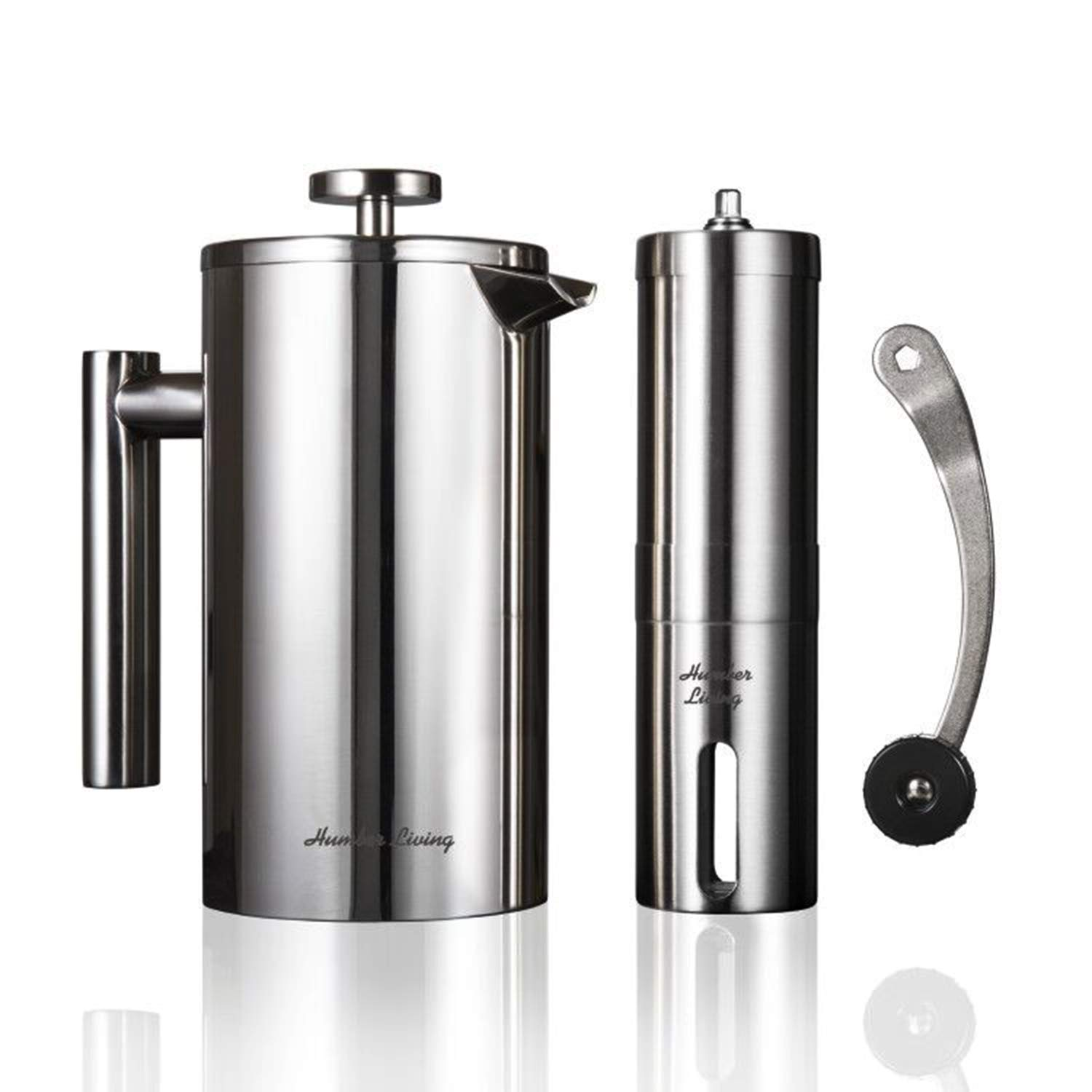 French Press Coffee Maker Stainless Steel Double Wall Insulated and Manual Coffee Grinder Set Ceramic Burr Mill by Humber Living