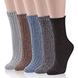 Thick Cotton Socks, RTZAT Women's Girls' 3 Pairs Thick Knitting Cotton Colorful Soft Warm Knit Crew Boot Socks Light Grey, Black, Dark Brown