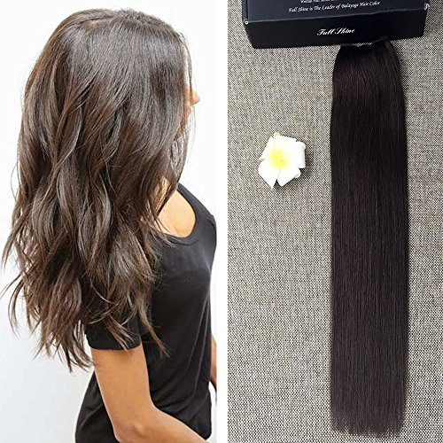 Full Shine 18inch Darkest Brown Fish Weaving Hair Straight Hair Extension Human Hair Natural Invisible Flip Extension Hair 80g Hairpiece