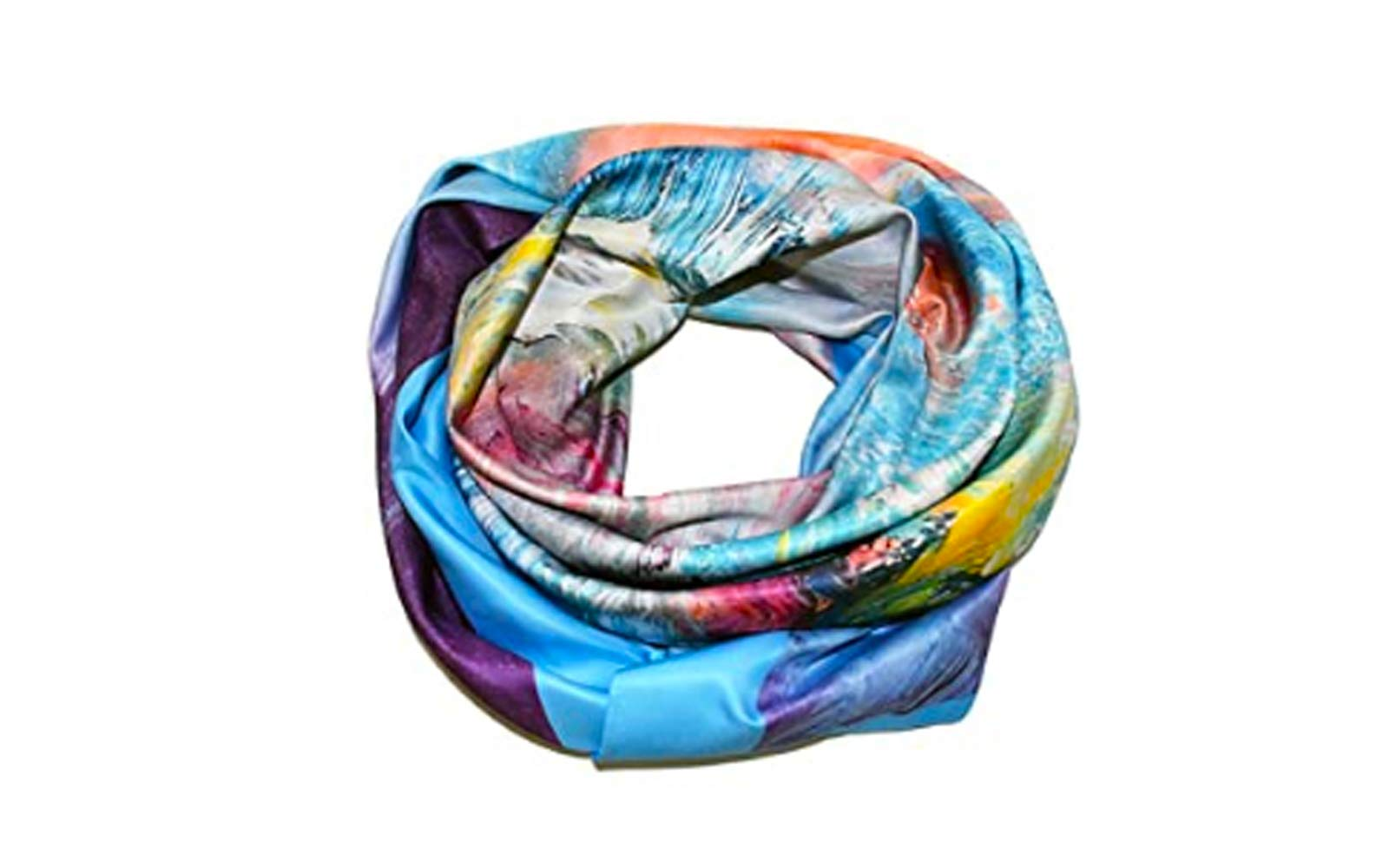 """Silkstone Ventures Lightweight Women's Scarf with an """"Abundance of Color""""  43"""" Square/110 cm"""