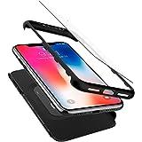 Cover iPhone X, Spigen® Custodia [Thin Fit 360] Caso Protezione esatta Slim Full Screen Protector vetro temperato (2 pezzi) per iPhone X (2017) - Black - 057CS22177