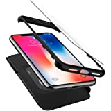 【Spigen】 Apple iPhone X ケース, [ 360度保護ケース ] [ 衝撃 吸収 ] [ 超スリム 軽量 ] [ レンズ保護 ] [ ハードケース ] [ Qi 充電 対応 ] シン・フィット 360 アップル アイフォン X 用 カバー (iPhone X, ブラック)