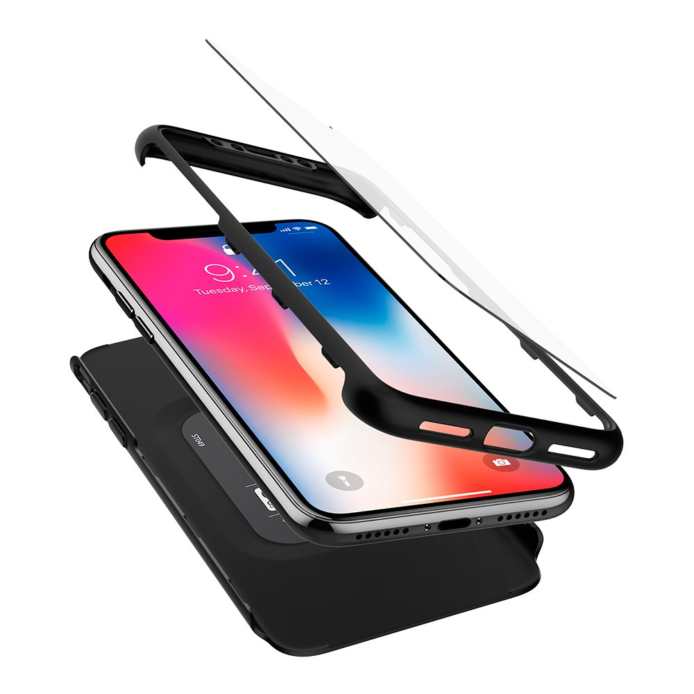 Spigen Thin Fit 360 iPhone X Case with Exact Slim Full Protection with 2 Packs of Tempered Glass Screen Protector for Apple iPhone X (2017) - Black