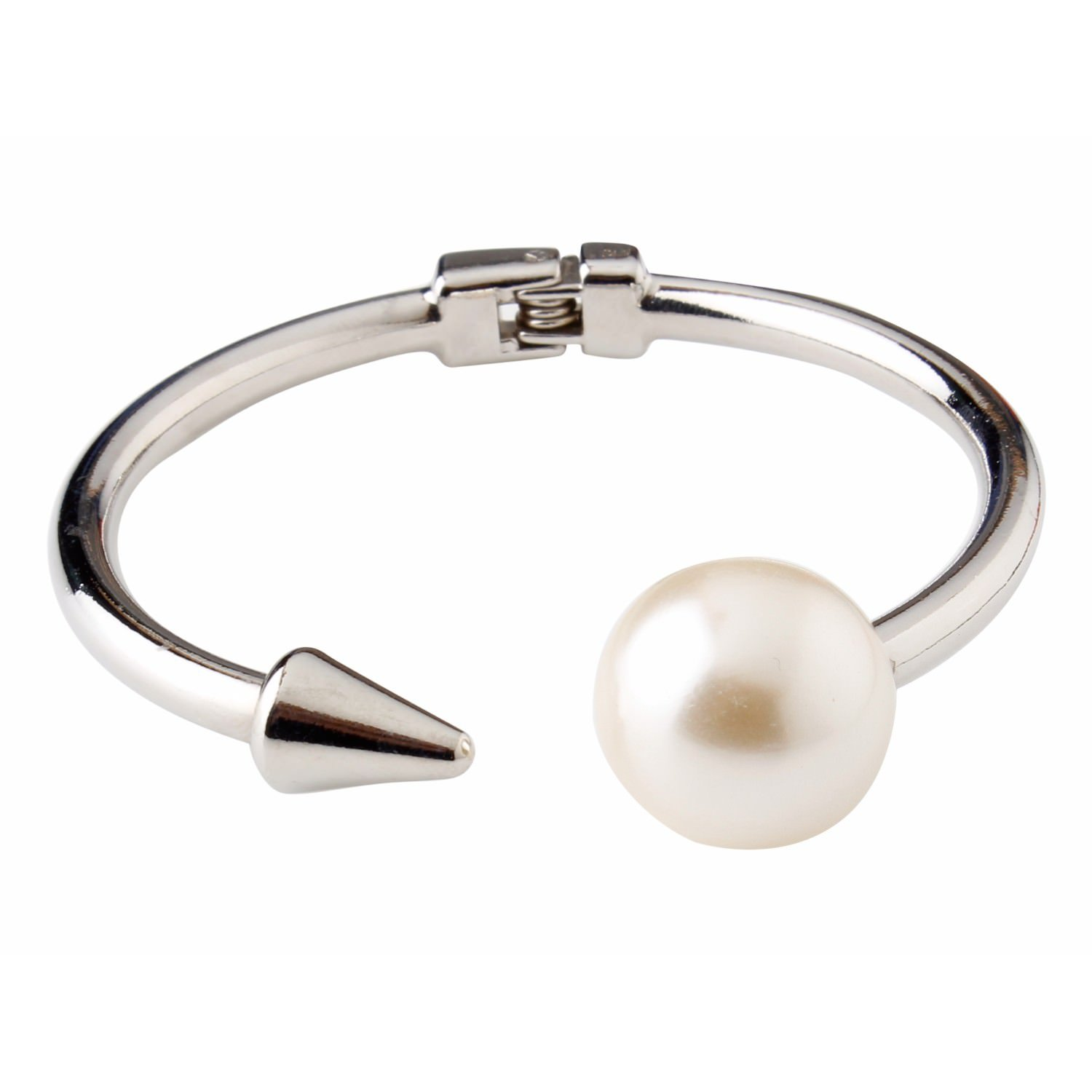 Efulgenz Silver Plated Stainless Steel Pearl Hinged Open Cuff Bracelet Bangle for Women and Girls Love Gift